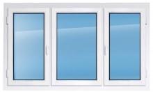 Пластиковое окно REHAU 2100×2300 мм две створки открываются одна глухая