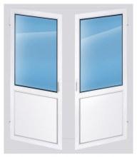 Дверь пластиковая двухстворчатая штульповая 2200×1400 глухая
