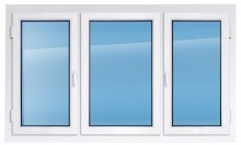 Пластиковое окно KBE эксперт 2100×2300 мм две створки открываются одна глухая