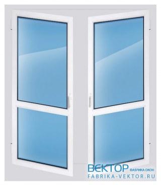 Дверь пластиковая двухстворчатая штульповая 2200×1400 мм