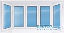 Пластиковое окно KBE эксперт с двумя эркерами 3100×1400 мм
