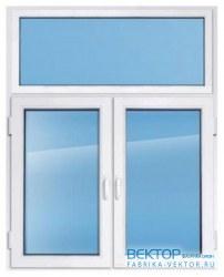Пластиковое окно KBE эксперт 2100×1500 мм с глухим верхом